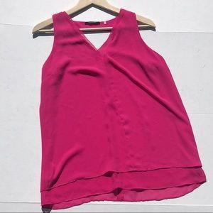 Tahari V-Neck Layered Pink Tank Cut Out Back EUC